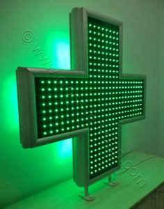 Σταυρός φαρμακείου 100 cm με όλα τα LED αναμμένα.