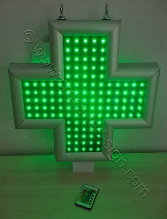 Σταυρός φαρμακείου LED 45 εκατοστών με όλα τα led αναμμένα.