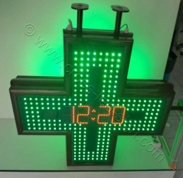 Σταυρός φαρμακείου LED 80 εκατοστών με ένδειξη ημερομηνίας, και κόκκινα led.