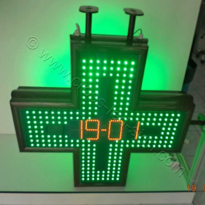 Σταυρός φαρμακείου LED 80 εκατοστών με ένδειξη ημερομηνίας και κόκκινα led.