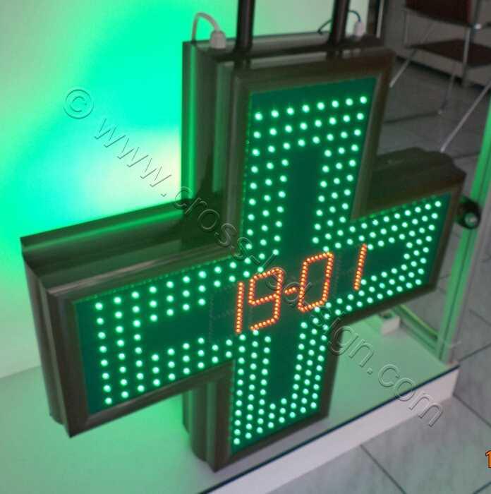 Σταυρός φαρμακείου LED 80 εκατοστών ημερομηνία, κόκκινα led.