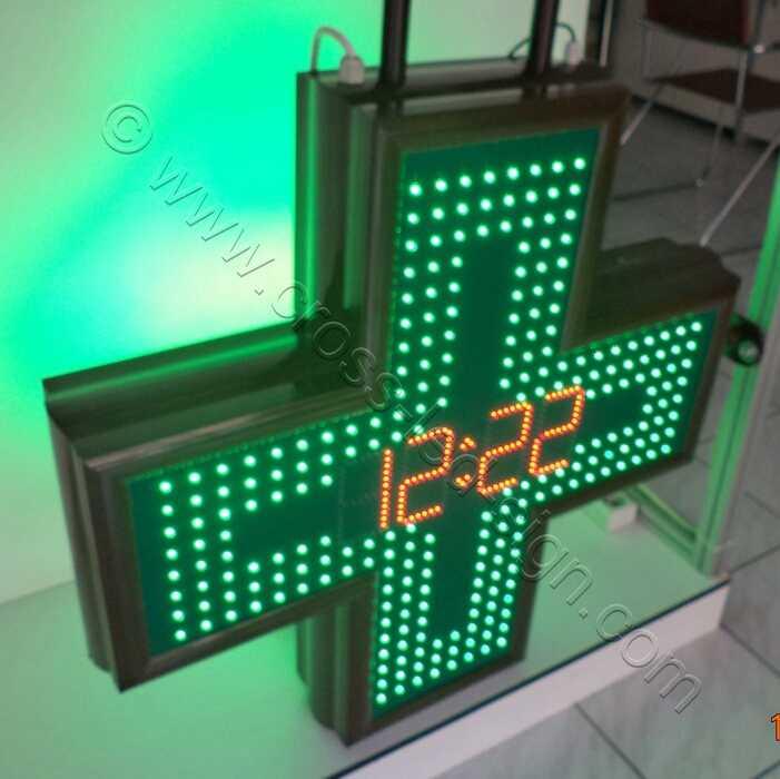 Σταυρός φαρμακείου LED 80 εκατοστών, με ρολόι κόκκινα led.