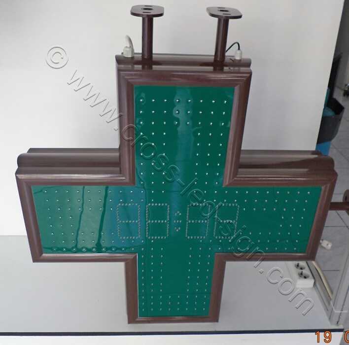 Σταυρός φαρμακείου LED 80 εκατοστών, ώρα-ημερομηνία-θερμοκρασία, άριστη ποιότητα κατασκευής.
