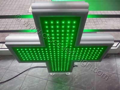 Σταυρός φαρμακείου led 90x90 cm με λαχανί οθόνη με όλα τα led αναμμένα.