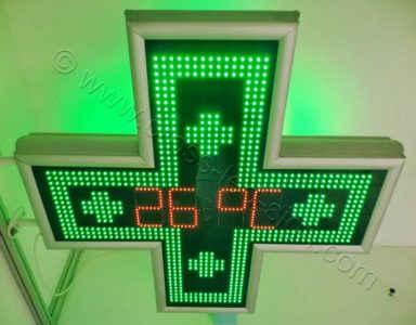 Σταυρός φαρμακείου LED ημερομηνία - ώρα - θερμοκρασία 105 cm.