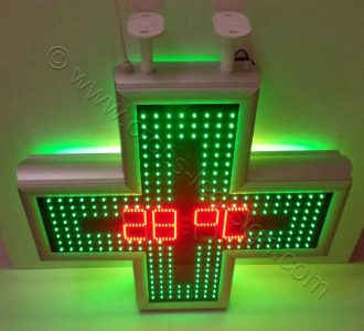 Σταυρός φαρμακείου LED 80 εκ. χρώμα πλαισίου φυσικό αλουμίνιο, ένδειξη θερμοκρασίας.