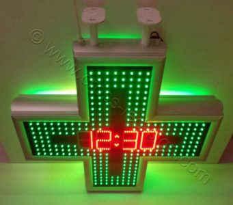 Σταυρός φαρμακείου LED 80 εκ. πλαίσιο από ανοδιωμένο αλουμίνιο σε χρώμα φυσικό ένδειξη ώρας.