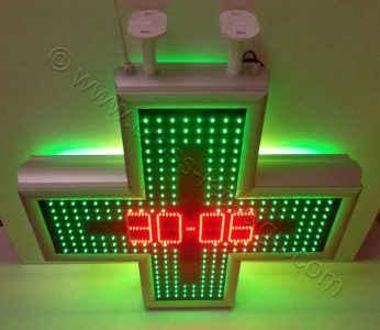Σταυρός φαρμακείου LED 80 εκ. χρώμα πλαισίου φυσικό αλουμίνιο, ένδειξη ημερομηνίας.