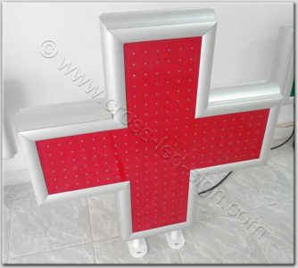 Κόκκινος σταυρός ιατρείου led 80 x 80 εκατοστά, σβηστός.
