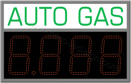 Πινακίδα auto gas led βενζινάδικου 80 x 50 εκατοστά με ψηφία.