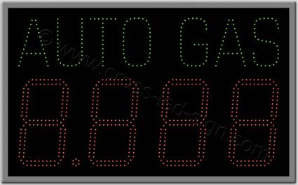 Πινακίδα επιγραφή led βενζινάδικου auto gas 91 Χ 56 εκ.