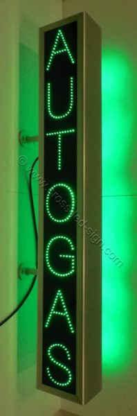 Ταμπέλα για βενζινάδικα AUTOGAS κάθετη 25 x 150 εκατοστών με πράσινα led.