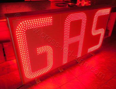 Ταμπέλα βενζινάδικου GAS 170 x 90 εκατοστών με κόκκινα led 5 σειρών.