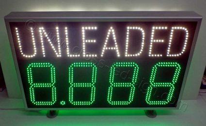 Επιγραφές για βενζινάδικα δείκτες τιμών led UNLEADED.