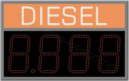 Πινακίδα diesel led βενζινάδικου 80 x 50 εκατοστά με ψηφία.