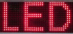 Ταμπέλα επιγραφή led 256x16 με πολύ φωτεινά λαμπάκια led, σε διάταξη ανά 10 χιλιοστά από κέντρο σε κέντρο led.