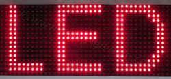 Ταμπέλα led 128 x 16 με πολύ φωτεινά λαμπάκια led, σε διάταξη ανά 10 χιλιοστά από κέντρο σε κέντρο led.