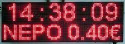 Ταμπέλα επιγραφή led 96x32 εκατοστά, με ένδειξη ρολόι νερό 0,40 €.