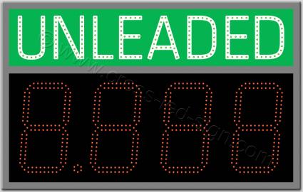 Πινακίδα unleaded led βενζινάδικου 80 x 50 εκατοστά με ψηφία.