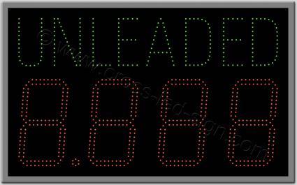 Πινακίδα επιγραφή led βενζινάδικου unleaded 91 Χ 56 εκ.