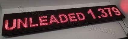 Πινακίδες led για βενζινάδικα 192 x 32 εκατοστά με ένδειξη unleaded και τιμή.