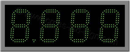 Πινακίδα ψηφίων led βενζινάδικου 60 x 23 εκ. με διπλή σειρά led.