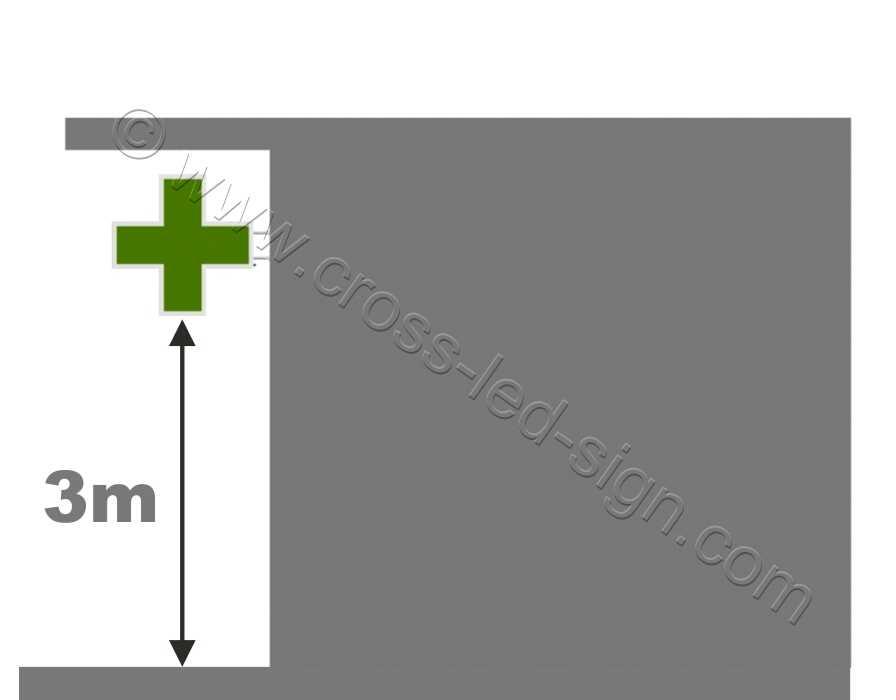 Ελάχιστο ύψος τοποθέτησης του σταυρού είναι τα τρία μέτρα.